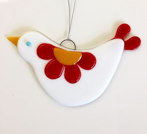 Fused Glass Love Bird Hanging - Red
