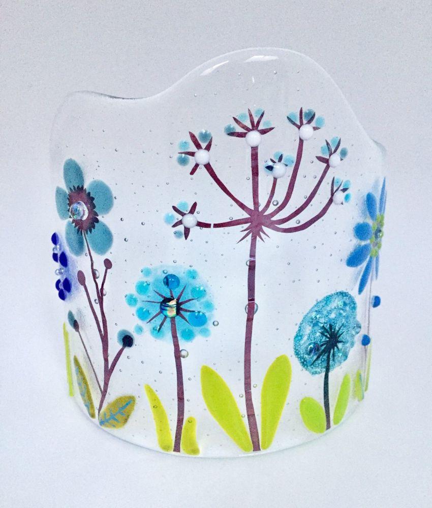 Fused Glass Botanical Candle Curve #6