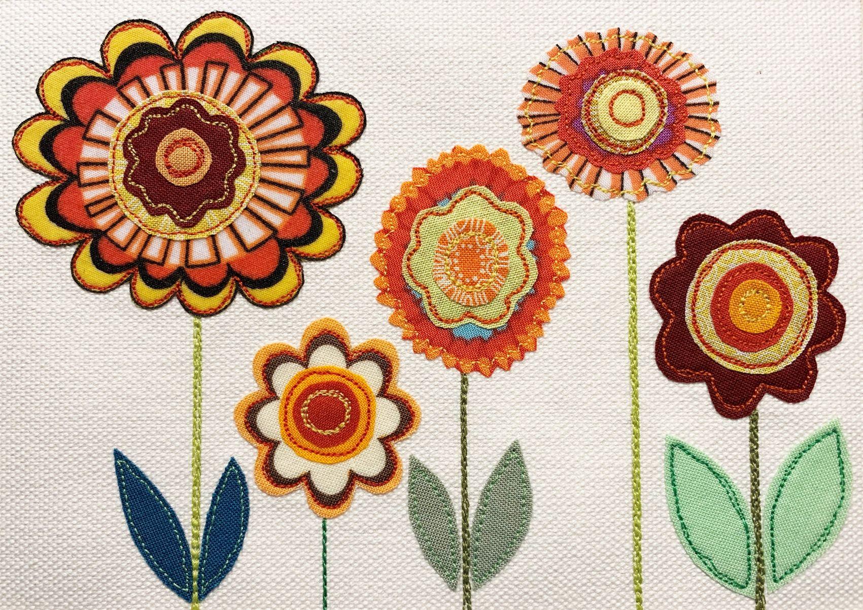 Appliqué picture of flowers