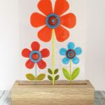 Fused Glass Retro Flowers On Oak #3