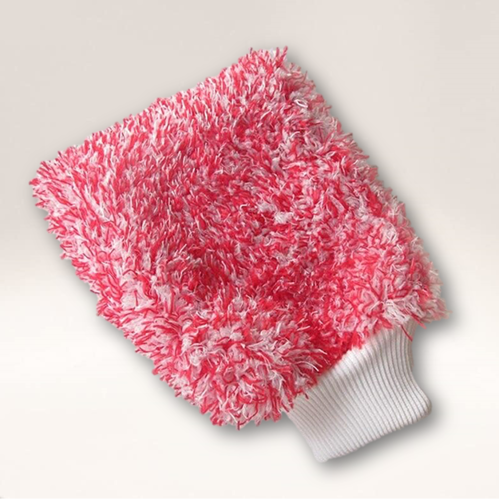 Chenille Red & White Wash Mitt