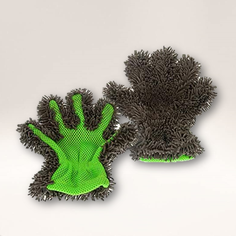 Double Sided Microfibre Noodle Wash Glove (Green and Black)