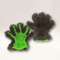 Microfibre Noodle Wash Glove (Green and Black)