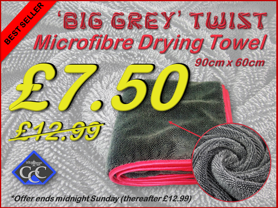 'Big Grey' Twist 550GSM Microfibre Twisted Loop Drying Towel 90cm x 60cm SALE