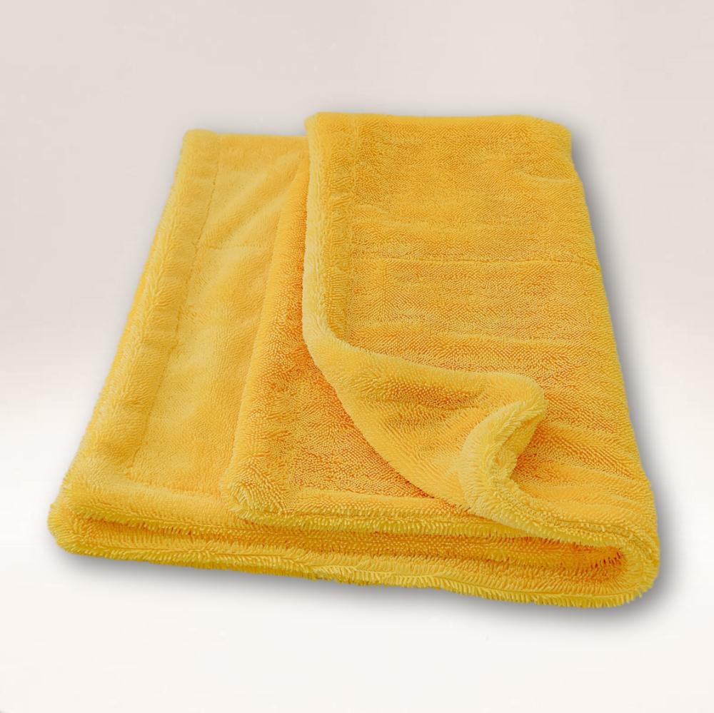 Mammoth Twist YELLOW 1200GSM Edgeless Microfibre Twisted Loop Drying Towel 80cm x 50cm