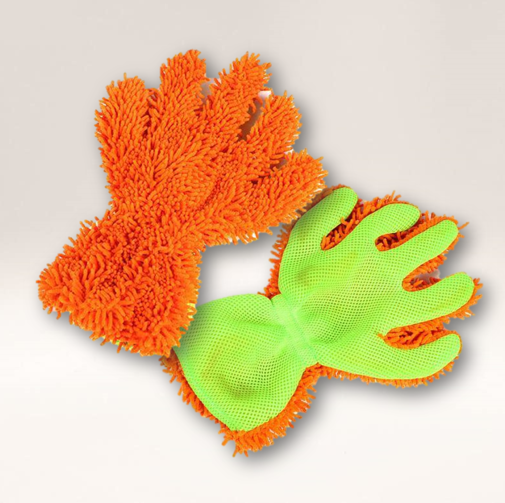 Microfibre Noodle Wash Glove (Green and Orange)