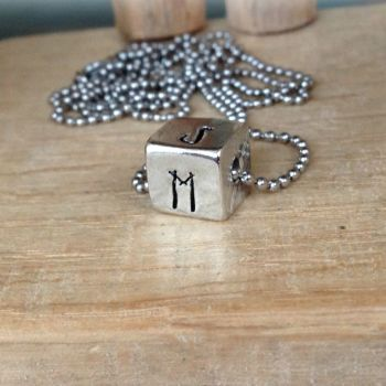 Personalised Small Pewter Cube Necklace (Unisex)