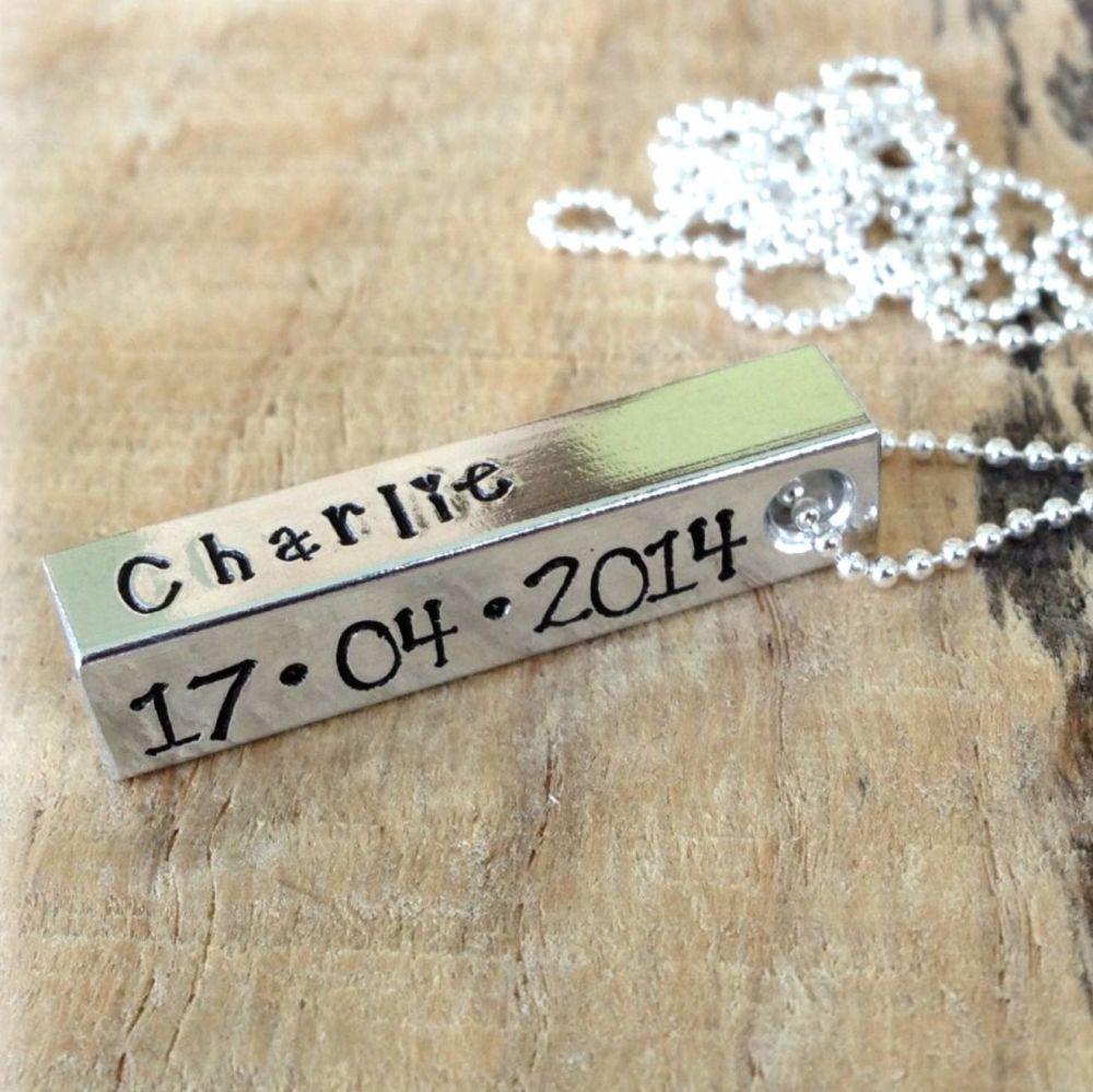 Personalised Aluminium Bar Necklace (Unisex)