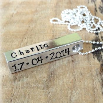 Personalised Aluminium Bar Necklace