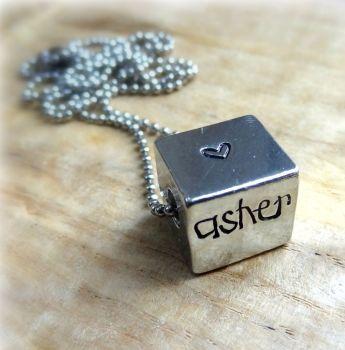 Personalised Large Pewter Cube Necklace (Unisex)
