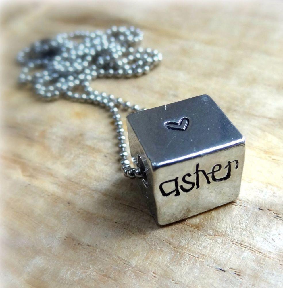 Unisex Personalised Large Pewter Cube Necklace