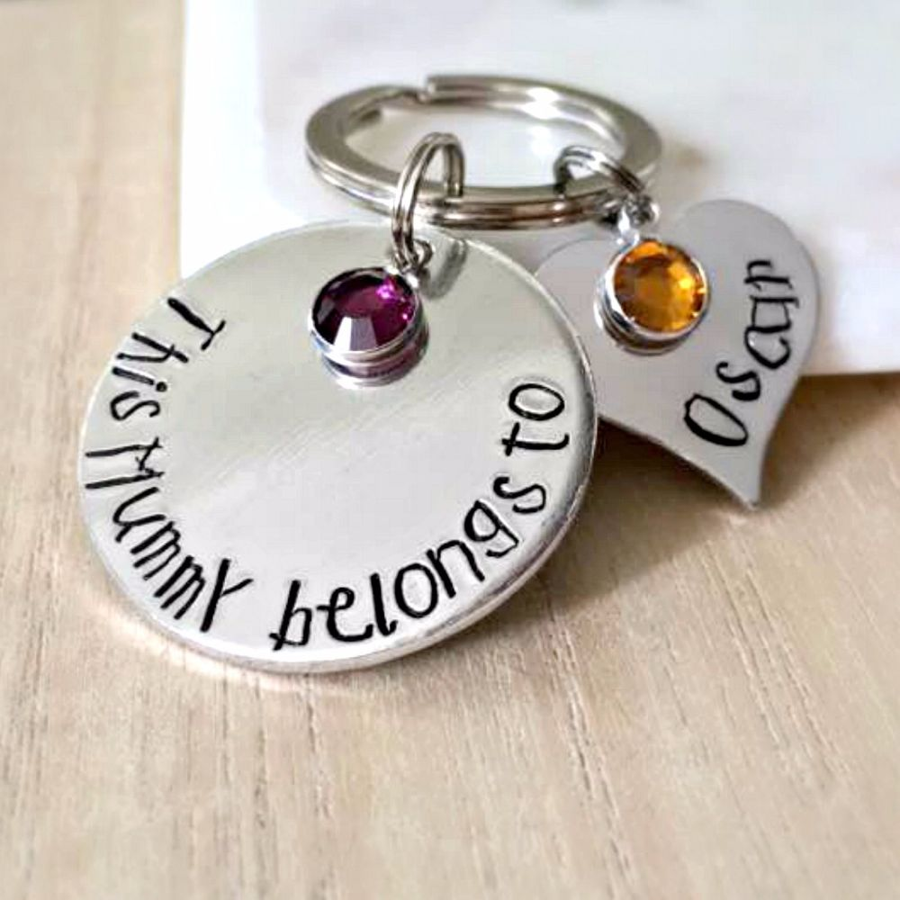 'This Mummy belongs to' keyring with heart name tags