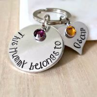 'This Person Belongs To' Keyring with Birthstones