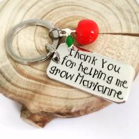 Personalised 'Thank You For Helping Me Grow' Keyring