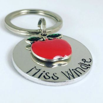Personalised Red Apple Teachers Keyring