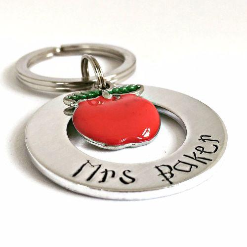 Personalised Apple Washer Teacher's Keyring