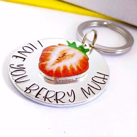 I Love You Berry Much Strawberry Keyring