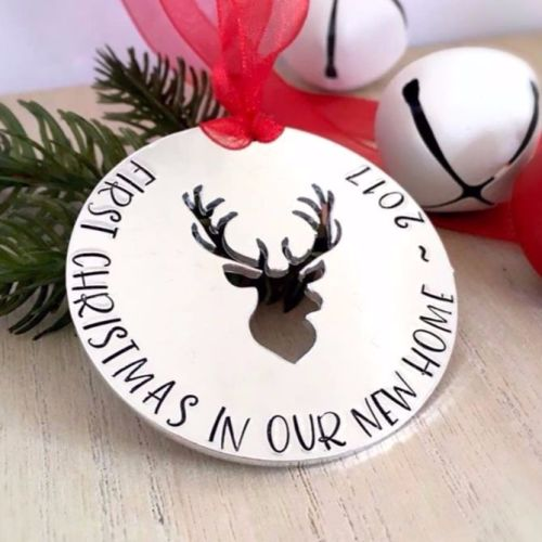 First Christmas In Our New Home Stag Decoration
