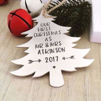 Personalised Our First Christmas as Mr & Mrs Decoration