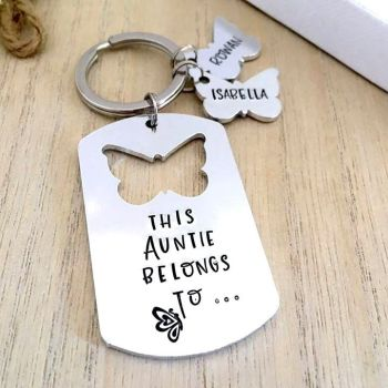 This Auntie Belongs To Butterfly Keyring