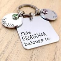 Personalised Square 'This Grandma Belongs To' Keyring