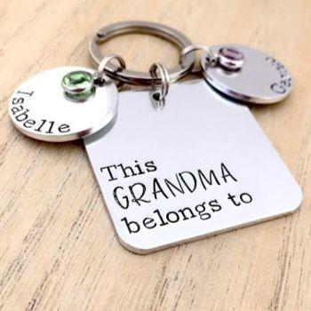 Personalised Square 'This Grandma Belongs To' Keyring