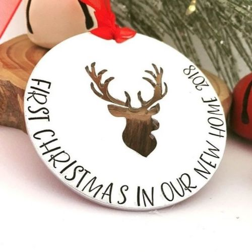 Personalised First Christmas In Our New Home Stag Decoration