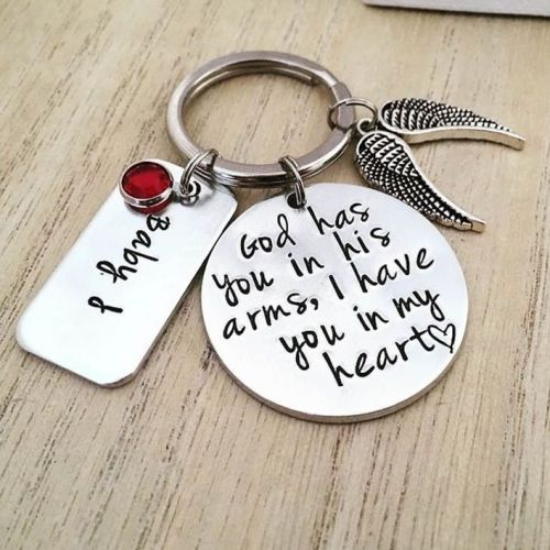 God Has You In His Arms, I Have You In My Heart Memorial Keyring