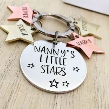Mixed Metal Little Stars Keyring