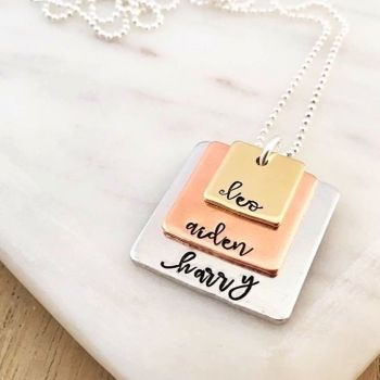 Small Square Mixed Metal Stacker Necklace