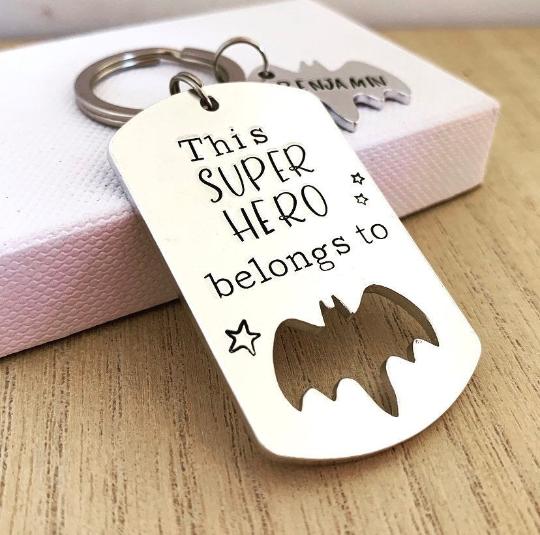 Personalised Bat Superhero Keyring