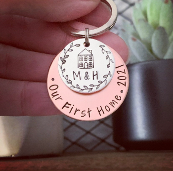 Personalised Copper Our First Home Keyring