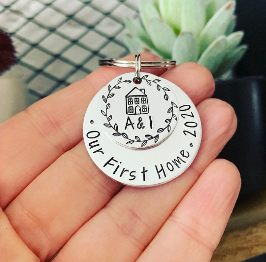 Personalised Silver Our First Home Keyring