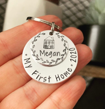 Personalised Silver My First Home Keyring
