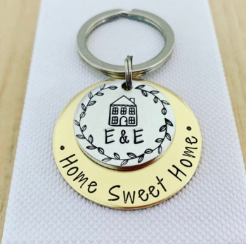Personalised Brass Home Sweet Home Keyring
