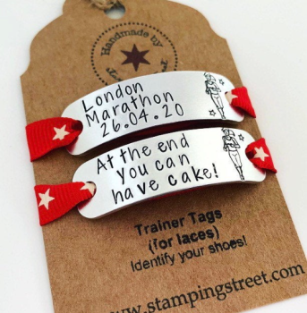 Personalised Running Girl Trainer Tags