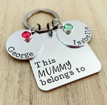 Personalised Square  Keyring with Birthstones