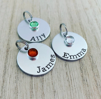 Round Name Charms with Birthstones
