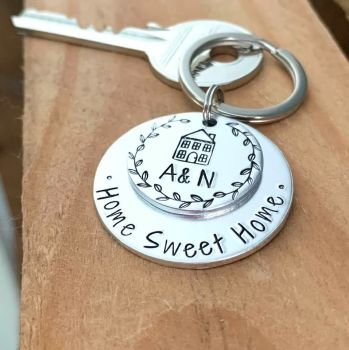 Personalised Silver Home Sweet Home Keyring