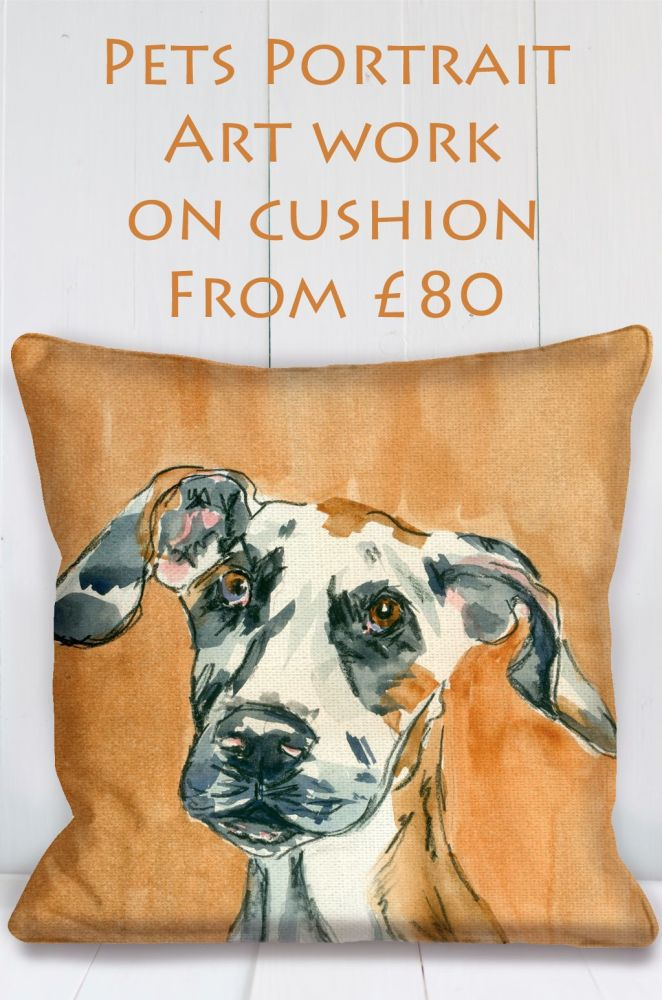 pet portrait cushion artwork