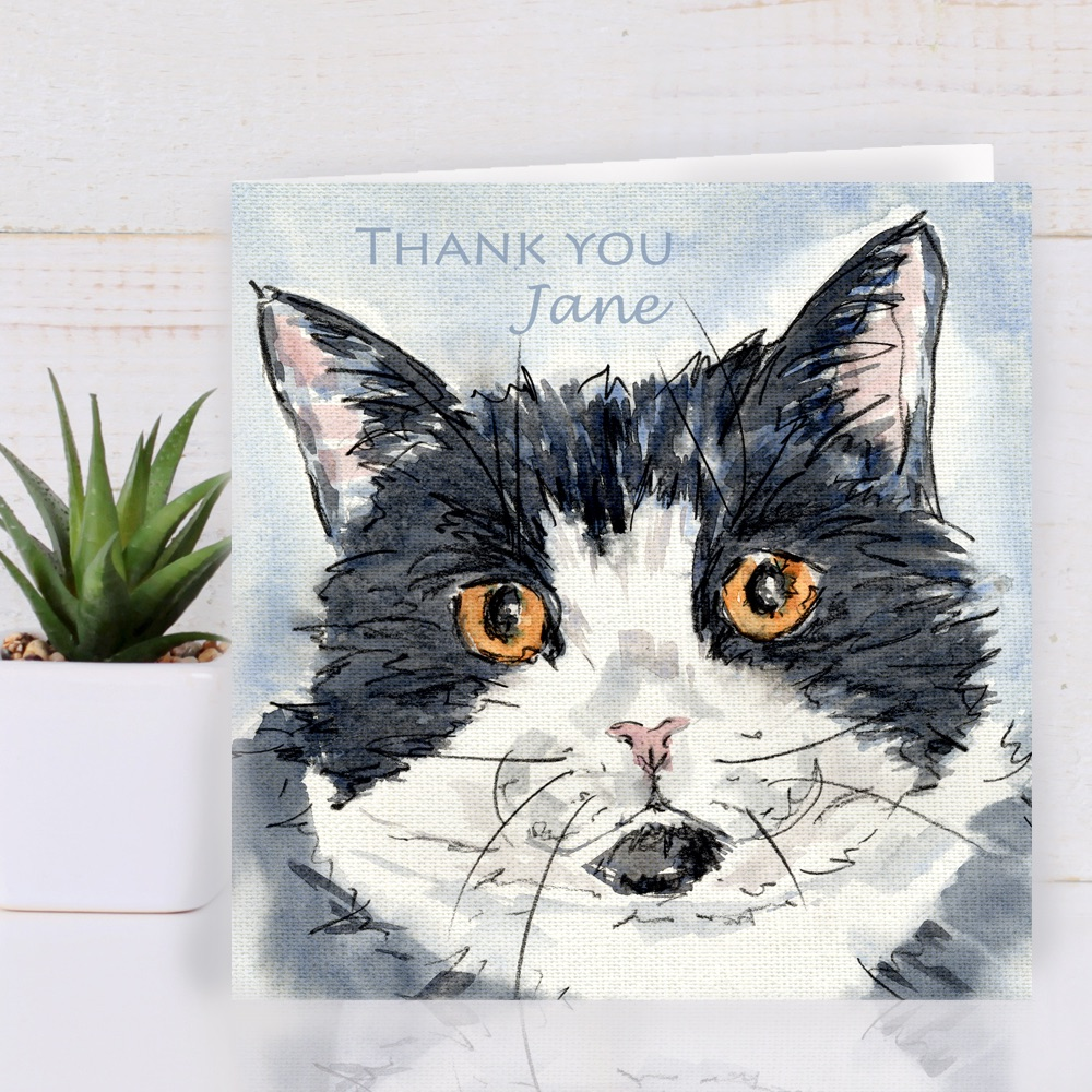 Personalised Black and White Cat Greeting Card