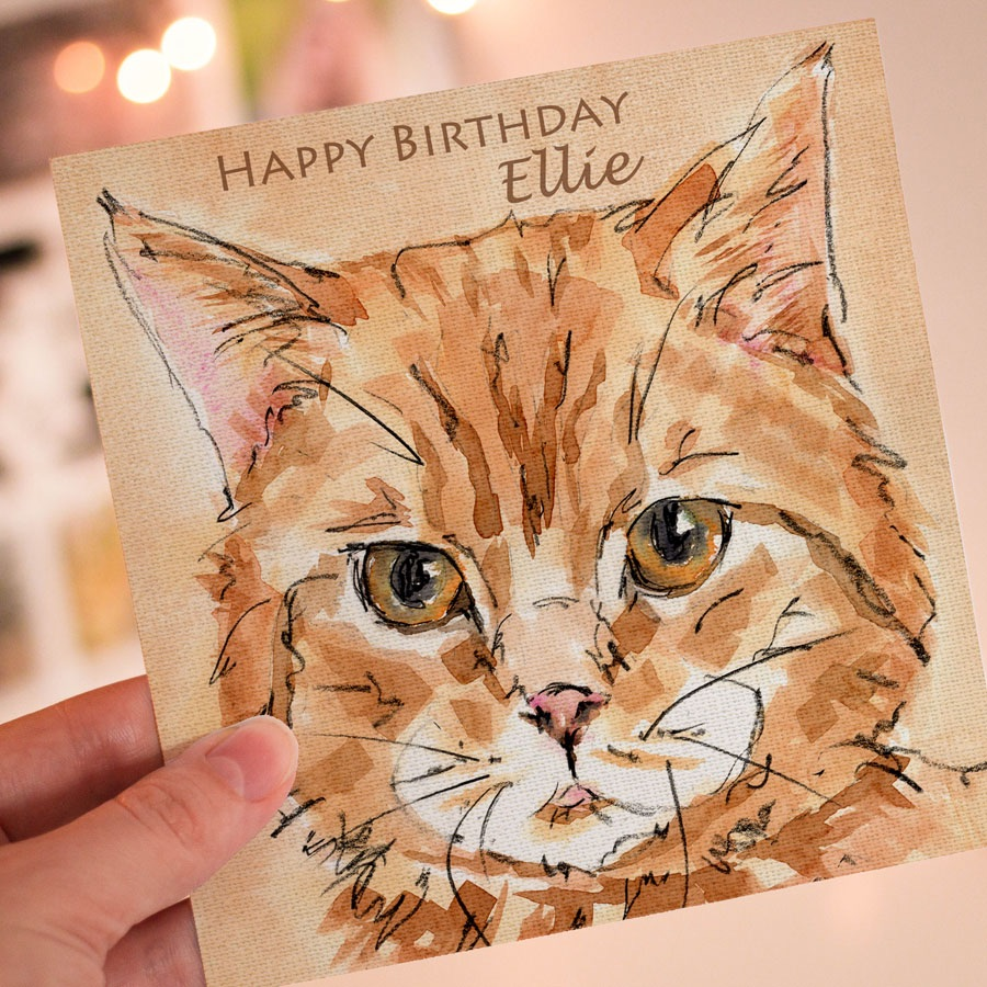 Personalised Ginger Cat Greeting Card