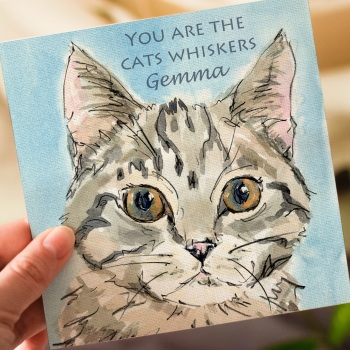 Personalised Tabby Cat Greeting Card