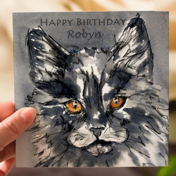 Personalised Black Cat Greeting Card