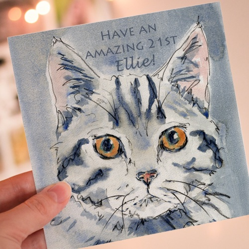 Personalised Grey Tabby Cat Greeting card