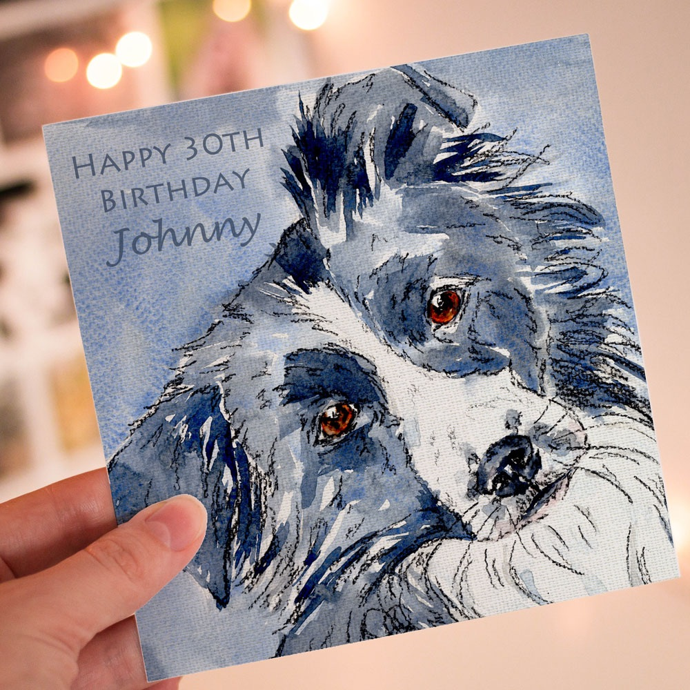 Personalised Border Collie Greeting Card