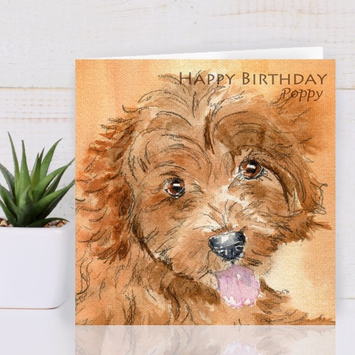 Personalised Cavapoo Dog Greeting card