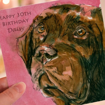 Personalised Chocolate Labrador Greeting Card