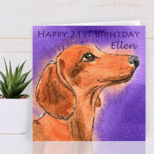 Personalised Dachshund Dog Greeting Card