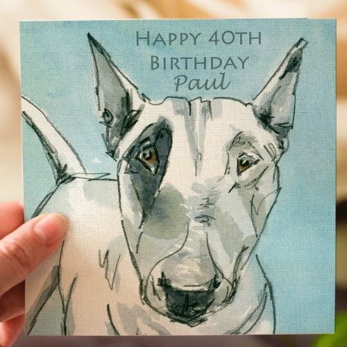 Personalised English Bull Terrier Dog Greeting Card